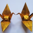 "100 LARGE SHINY GOLD ORIGAMI CRANES FOR WEDDING DECORATIONS 6"" X 6"""