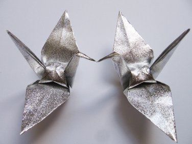 """100 LARGE SHINY SILVER ORIGAMI CRANES FOR WEDDING DECORATIONS 6"""" X 6"""""""
