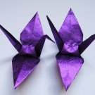 "1000 LARGE SHINY PURPLE ORIGAMI CRANES FOR WEDDING DECORATIONS 6"" X 6"""
