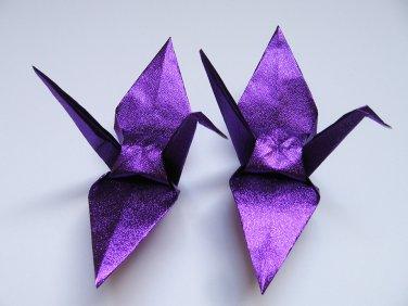"1000 LARGE SHINY PURPLE ORIGAMI CRANES FOR WEDDING DECORATIONS 6"" X 6"""