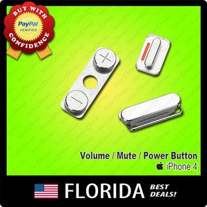 Side Mute Volume Key Power Key 3 Buttons On Off iPhone 4 4G Switch Replacement
