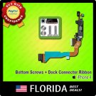 Dock Port Connector Charger Flex Cable Replacement Ribbon iPhone 4 Bottom Screws