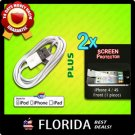USB Data Sync Cable iPod Touch 2 2x lot Screen Protectors Film Apple iPhone 4 4S