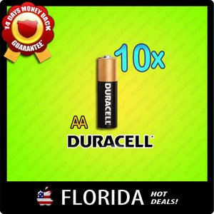 10 pack lot AA Duracell Alkaline Batteries Brand New Fresh Black Brown 10x x10