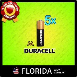 5 pack lot AA Duracell Alkaline Batteries Brand New Fresh Black Brown 5z x5