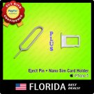 White Silver Nano Sim Card Tray Holder Replacement iPhone 5 Eject Tool