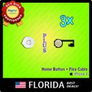 White 3 lot Home Menu Button Flex Cable Key Cap Assembly iPhone 4 4G Replacement