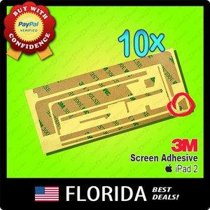10 pack lot Apple iPad 2 3M Tape Screen Digitizer Adhesive Glue Sticker x10 10x