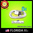5 Pack USB Data Sync Charger Cable Apple iPod Touch iPhone 3GS 4 4G 4S lot 5x x5