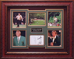 Jack Nicklaus and Arnold Palmer Signed Score Card Framed