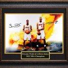 Lebron James & Dwyane Wade Signed Photo Framed