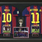 Lionel Messi & Neymar Jr Signed FC Barcelona Jerseys Champions League Display.