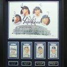 Babe Ruth, Lou Gehrig, Joe DiMaggio & Mickey Mantle Signed NY Yankees Display.