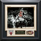 Michael Jordan Signed Last Shot Celebration Photo Framed