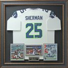 Richard Sherman Signed Seattle Seahawks White Jersey Framed Display.