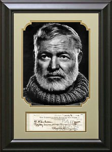 Ernest Hemingway Replica Signed Check Framed Display.