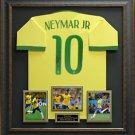 Neymar Signed 2014 Brazil Jersey Framed Display.