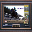 Victor Espinoza Signed American Pharoah Photo At Belmont Stakes Framed Display.