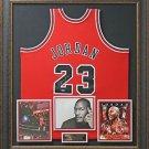 Michael Jordan Signed Bulls M&N Red Jersey Framed Display