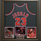 Michael Jordan Signed Bulls M&N Jersey Framed Display
