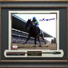 American Pharoah Photo Signed By Victor Espinoza Belmont Stakes Framed Display.