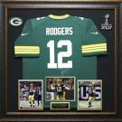 Aaron Rodgers Signed Green Bay Packers Jersey Display.