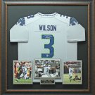 Russell Wilson Signed Seahawks Gray Jersey Framed