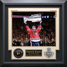 Patrick Kane Signed Chicago Blackhawks Puck Collage Display.