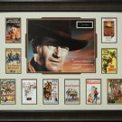 John Wayne Cowboy Movies Collage with Engraved Replica Signature Display.