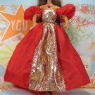 Barbie Doll Size Clothes Bright Christmas Red Gold Puff Sleeve Long Gown BDCGW1