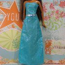 Barbie Doll Size Clothes Aquamarine Blue Sparkle Sheath Strapless Party Dress BDCGW2