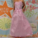 Barbie Doll Size Clothes Light Pink Satin Strapless Dress Glitter Net Overdress BDCGW3
