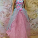 Barbie Doll Size Clothes Pink & Blue Shimmer Bodice Layered Skirt No Sleeve Gown BDCGW5
