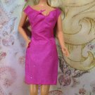 Barbie Doll Size Clothes Fuschia Pink Glittery Nylon Above the Knee Pencil Dress BDCDML1