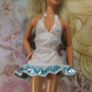 Barbie Doll Size Clothes White Tank Short Mini Blue Metallic Ruffled Party Dress BDCDS1