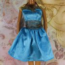Barbie Doll Clothes Peacock Blue Gold Black Irridescent Ruffles Short Dress Tag BDCDS7