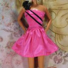 Barbie Doll Clothes Bright Candy Pink Satin Like Short Dress Large Black Bow Tag BDCDS8