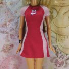 Barbie Doll Clothes Sporty Red Pink Summer Knit B Logo Tee Short Dress Tagged BDCDS12