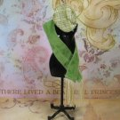 Barbie Doll Clothes Fashion Avenue Green Velvety Tassled Scarf & Plaid Ascot Cap BDCFA1