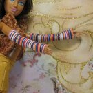 Barbie Flavas My Scene White Brown Orange Stripe Fingerless Gloves Armlets BDCFA3
