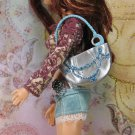 Barbie My Scene Blue Sparkle and Silver Large Hard Plastic Hand Bag Purse BDHBL1