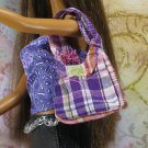 Barbie My Scene Bratz Doll Size Cotton Cloth Purple Plaid Hobo Bag Purse BDHBL2