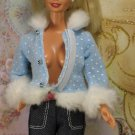 Barbie Doll Size Clothes Blue Polka Dot Faux Fur Trim Collar Cuffs Coat Jacket - As Is BDCJV1