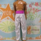 Barbie Ken Doll Clothes White Satin Like Dress Suit Pants Pink Waist Band KDC8