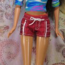Barbie Doll Size Red and White Beach Sport Shorts Pink Genuine Barbie Tag BDCSH1