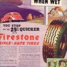 "1937 Firestone Tires ""Slippery When Wet"" Advertisement"