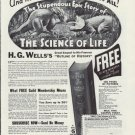 1937 LITERARY GUILD OF AMERICA, THE SCIENCE OF LIFE, Ad