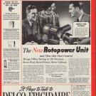 "1937 DELCO-FRIGIDAIRE OIL HEATING ""ROTOPOWER"" Ad"
