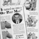 "1937 TALON SLIDE FASTENER ""ONE PANTS MAN"" Advertisement"