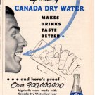 "1953 CANADA DRY WATER ""TASTE TELLS!"" Advertisement"